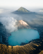 Blue Volcanic Crater Lake With...