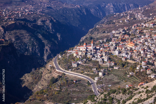 Foto op Plexiglas Midden Oosten A view of Bcharre, a town in Lebanon high in the mountains on the edge of the Qadisha Gorge. Lebanon.
