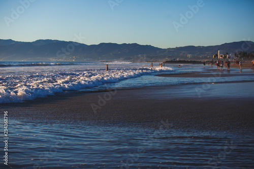View of Venice Beach on sunset, with Pacific Ocean, Venice, Los Angeles County, California, United States
