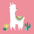 Vector illustration of a cute llama or alpaca in clothes with national motifs and cacti on a pink background. The image on the South American theme for children, cards, invitation, print, textiles.