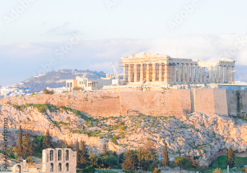 Poster Famous skyline of Athens with Acropolis hill with Pathenon temple, Athens Greece