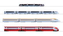 Set Of Passenger Train. Subway Transport Underground Train. Metro Train Vector Illustration