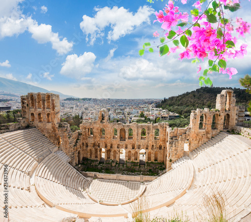Recess Fitting Athens view of Herodes Atticus amphitheater of Acropolis with flowers, Athens, Greece