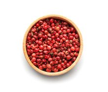 Bowl With Red Peppercorns On White Background, Top View