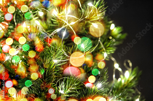 Fototapety, obrazy: Christmas tree decoration colorful light garland