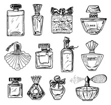 Set Of Women's Perfume In A Bottle. Beautiful Fashionable Glass Accessory. Hand Drawn Sketch. Vintage Style.