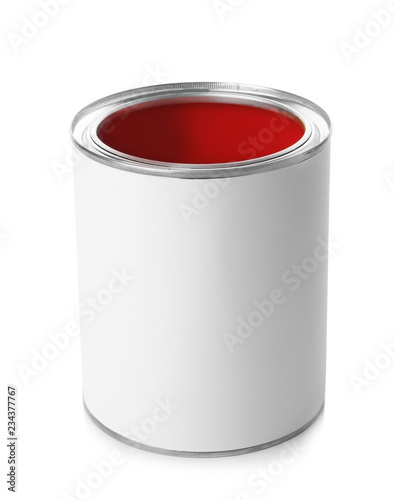 Open paint can on white background. Mockup for design