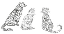 Dog And Cats On White. Hand Drawn Animals With Abstract Patterns On Isolation Background. Design For Spiritual Relaxation For Adults. Black And White Illustration For Coloring. Zen Art