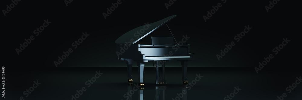 Fortepian w ciemnym tle. Renderowania 3d