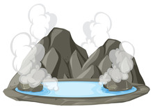 Isolated Hot Spring On White B...