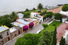Street Along Rio De La Plata In Historic Quarter Of Colonia Del Sacramento, Uruguay.