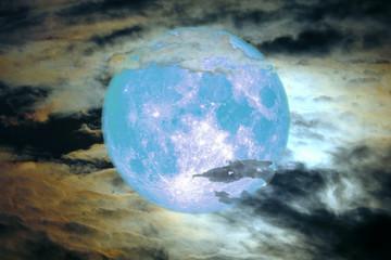 blue blood moon back on silhouette cloud on night sky