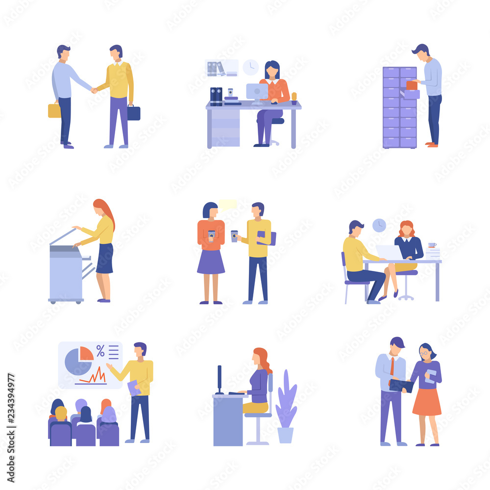 Fototapeta Office concept business people vector illustration flat design.