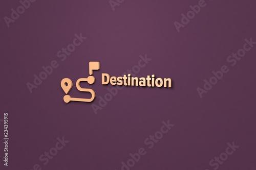 Foto  Illustration of Destination with light text on violet background