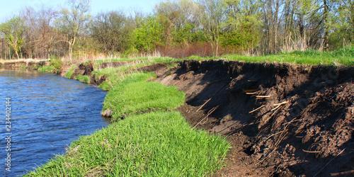 Obraz na plátně Kishwaukee Bank Erosion Illinois