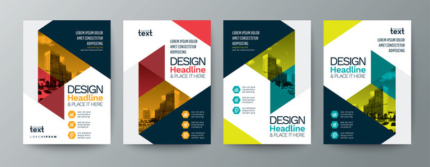 collection of modern design poster flyer brochure cover layout template with triangle graphic elements and space for photo background