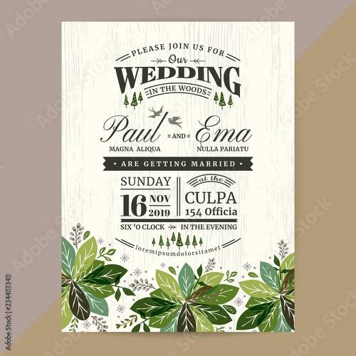 Fototapeta Wedding Invitation Card With Flora On Black