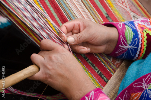 Photo Weaving Textiles in Peru