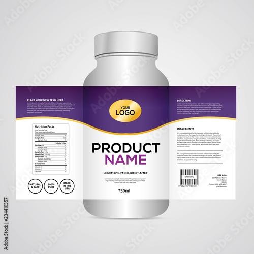 Bottle label, Package template design, Label design, mock up design label templa Fototapeta