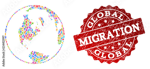Valokuva  People migration traffic combination of mosaic global map of world and grunge seal