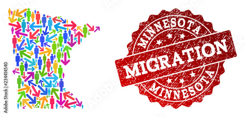 People Migration Traffic Collage Of Mosaic Map Of Minnesota State