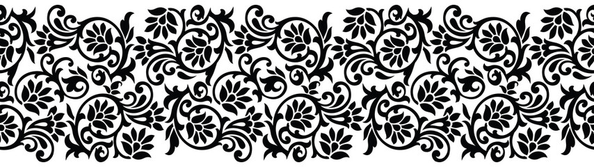 Naklejka Do kuchni Seamless black and white floral border