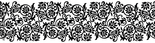 Recess Fitting Pattern Seamless black and white floral border