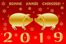 New Year Banner With Cute Golden Pigs, Inscription Happy Chinese New Year 2019 In French And Golden Snowflakes Of Various Shapes And Sizes. Vector Illustration.