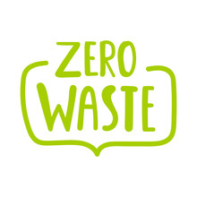 Zero Waste. Vector Hand Drawn Badge With Lettering, Illustration On White Background.