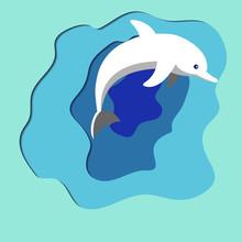 Dolphin Jump On An Abstract Em...