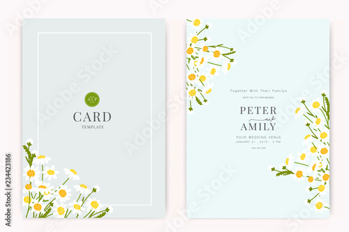 Cuadros en Lienzo Wedding Invitation, floral invite thank you, rsvp modern card Design in white fl