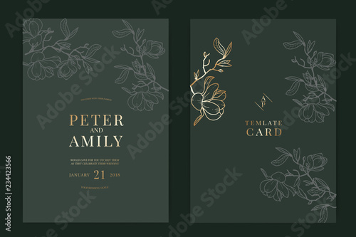 Fototapety, obrazy: Wedding Invitation, floral invite thank you, rsvp modern card Design in white magnolia with Metallic text and leaf greenery  branches decorative Vector elegant rustic template