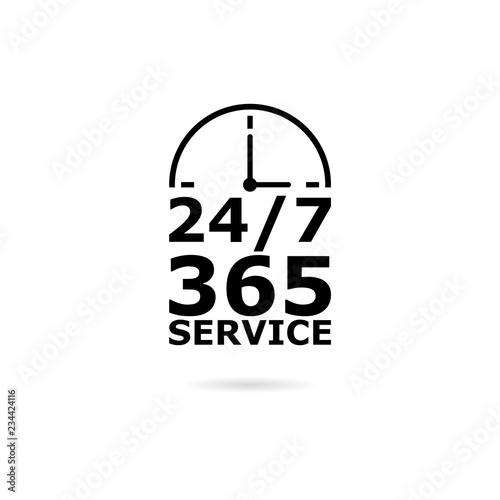 Fotografia, Obraz  Black Open 24/7 - 365, 24/7 365 icon or logo