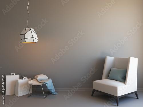 Interior mockup 3d in grey colors raster