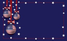 Vector Christmas And New Year Template Background With Balls And American Flag. USA Patriotic Christmas Background