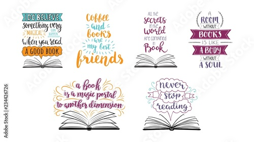 Set of hand drawn quotes about reading and books. Vector motivation lettering