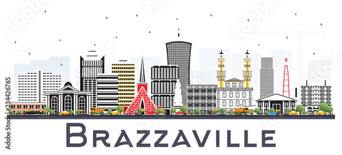 Brazzaville Republic of Congo City Skyline with Gray Buildings Isolated on White.