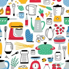 Colorful Seamless Pattern With Cooking Tools On White Background. Backdrop With Kitchen Utensils For Homemade Meals Preparation. Vector Illustration In Flat Style For Textile Print, Wrapping Paper.
