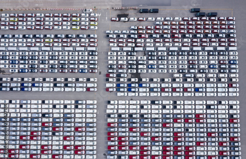 Top view of Cars For Sale Stock Lot Row as the Car Dealer Inventory