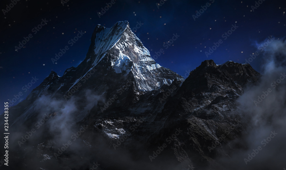 Fototapety, obrazy: Machapuchare at night. A mountain in the Annapurna Himalayas of north central Nepal. Digitally editing image