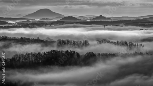 Printed kitchen splashbacks Dark grey Good morning in the kindom in the clouds - Guten Morgen im Wolkenreich
