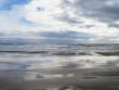 Playa de Vilanova i la Geltrú en día lluvioso.