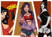 Gangster Girl. Pretty Young Urban Girl Set. Lady Vector Artwork. Pop Art Comic Style.