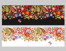 Seamless Floral Ethnic Borders With Colorful Abstract Flowers On White And Black Backgrounds