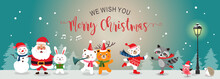 Merry Christmas Greeting Card Flat. Set Of Cute Cartoon Christmas Characters. Vector Illustration.