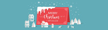 Merry Christmas And Happy New Year. Greeting Card With Paper Art Style Concept.