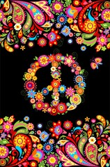 T shirt print on black background with vivid floral decorative seamless border and hippie peace flowers symbol