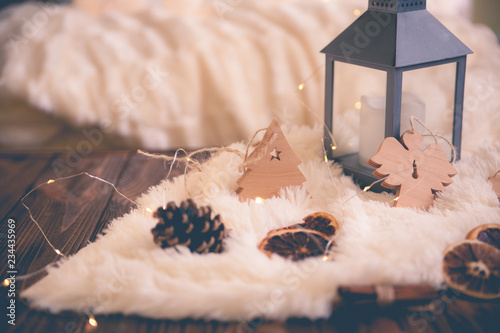 Foto auf Leinwand Spa Christmas festive decor still life on wooden background, concept of home comfort and holiday