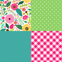 Cute Retro Set Of Seamless Patterns With Hand Drawn Rustic Flowers
