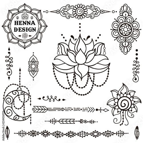 Vector Set Of Henna Tattoo Mehndi Ornaments Hand Drawn Henna